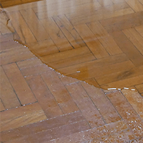 Water flooding on hardwood floors