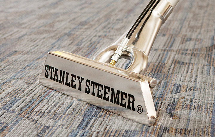 Close up of Stanley Steemer equipment cleaning over carpet