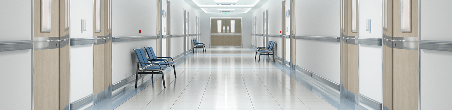 Hallway of hospital with VCT floors