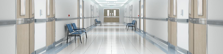 Hallway of hospital with VCT floors