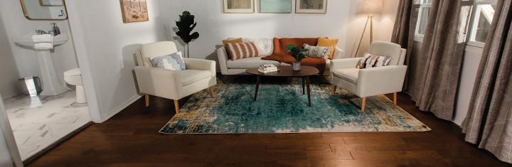 Clean hardwood floors and rug in living room