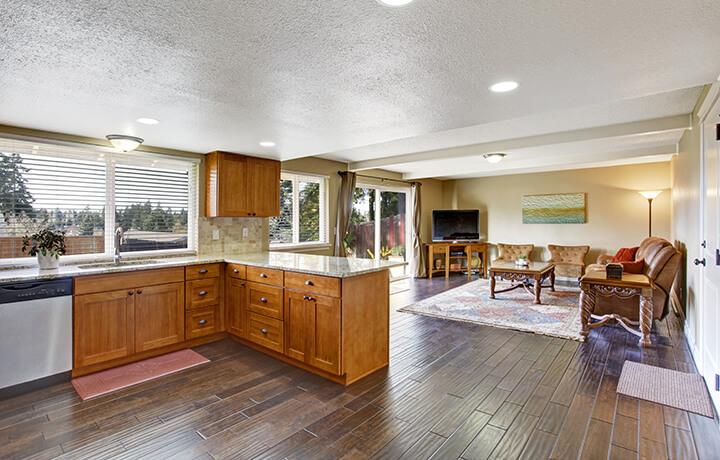 Hardwood flooring in classic kitchen