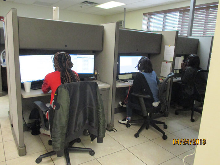 Stanley Steemer crew members working in the call center in Atlanta, Georgia.