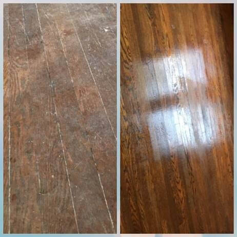 Left side shows dusty and dull hardwood floors. Right shows restored hardwood after hardwood floor cleaning from Stanley Steemer Saginaw