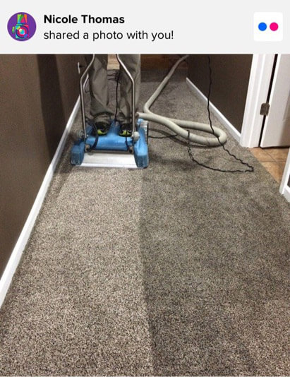 Carpet cleaning water extraction equipment at a happy customer's home in Columbia, Missouri.