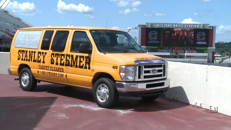 Carpet Cleaning service van parked at Williams Brice Stadium in Columbia, South Carolina.