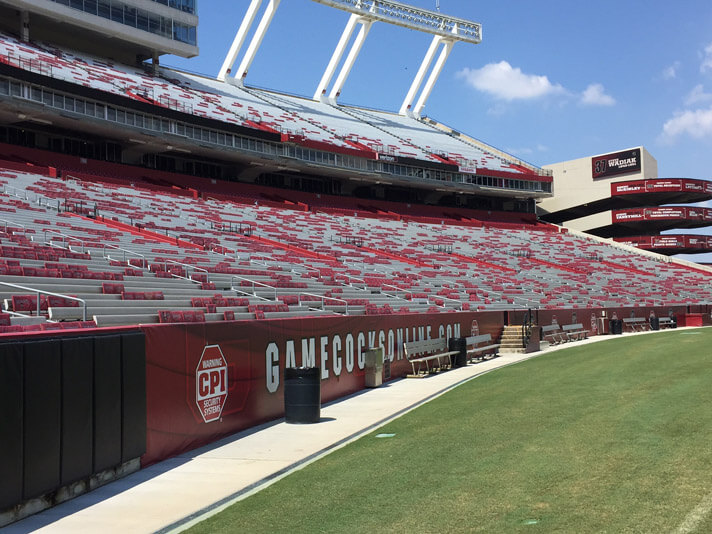 Empty stadium seats at Williams Brice Stadium in Columbia, South Carolina.