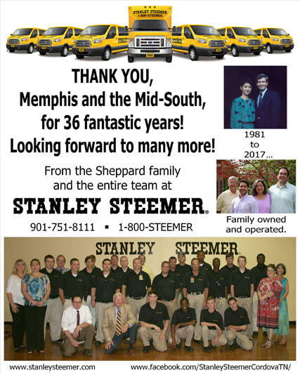 The Cordova, Tennessee Stanley Steemer crew thanking Memphis and the mid-south community for 36 years of service.