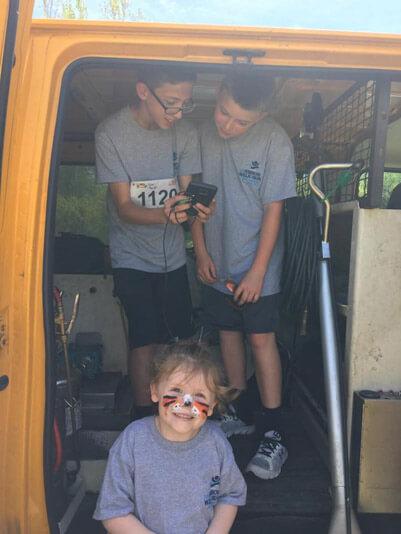 Kids in Stanley Steemer truck Fayetteville North Carolina