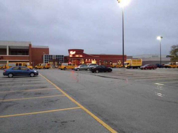 Stanley Steemer vans and trucks in parking lot in Fort Wayne Indiana