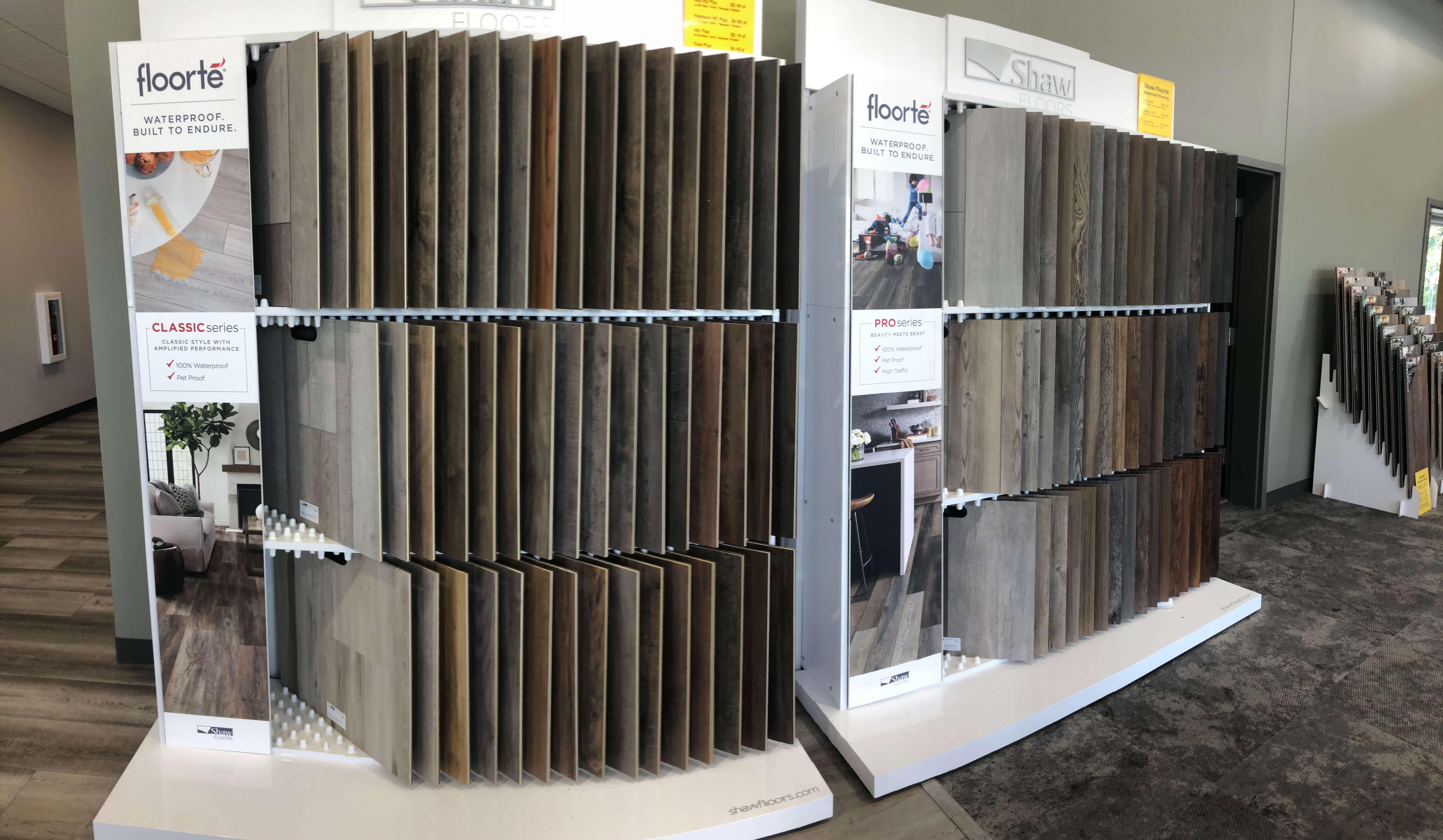 LVT samples displayed in Stanley Steemer showroom in Kalamazoo