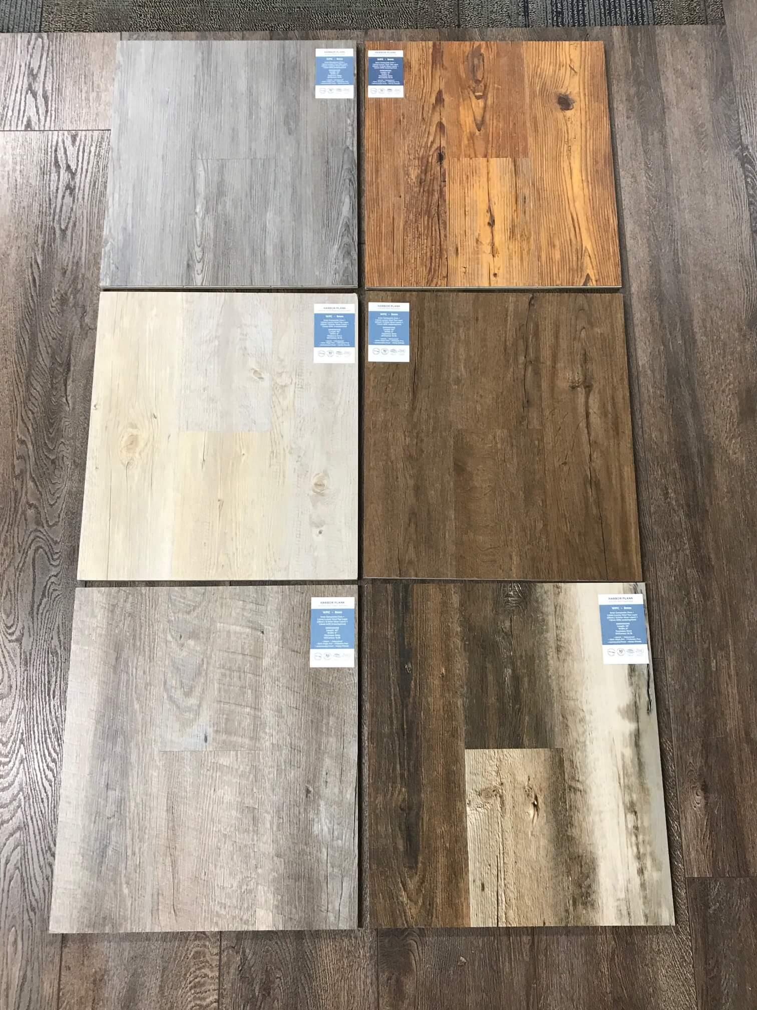 Samples of hardwood floor in Kalamazoo showroom