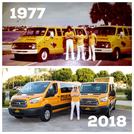 1977 to 2018 Stanley Steemer Employees in front of carpet cleaning vans in Lake Worth Florida