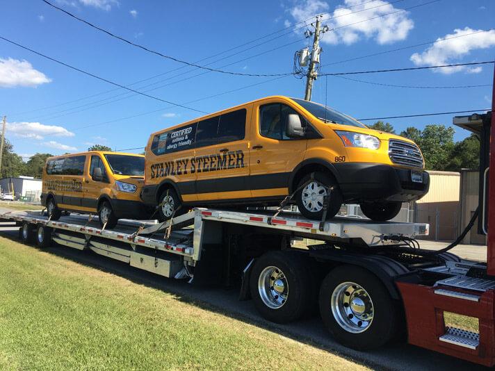 Stanley Steemer Carpet Cleaning vans on truck in Lakeland Florida