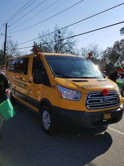 Stanley Steemer van in the Leesburg Georgia Christmas parade