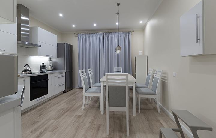 LVT flooring in minimalist kitchen