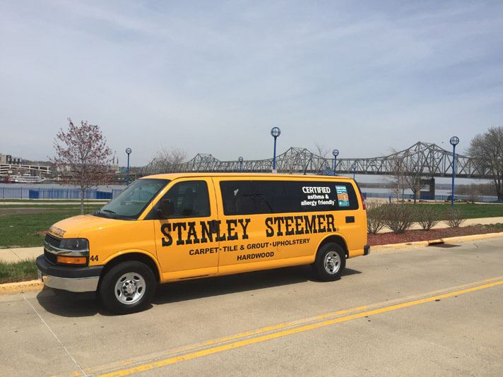 Stanley Steemer van parked outside of the McClugage Bridge in Peoria, Illinois.