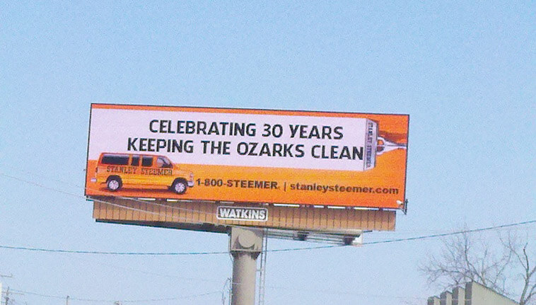 Billboard in Spingfield, Missouri displaying 30 years keeping the Ozarks clean.