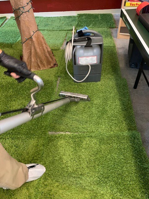 Stanley Steemer technician cleaning an area rug