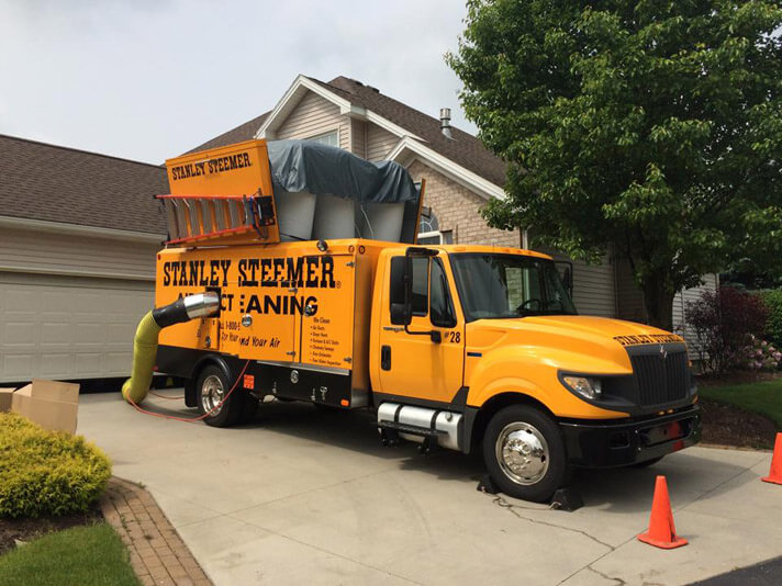 Air Duct Cleaning service van parked outside of a customer's home in Youngstown, Ohio.
