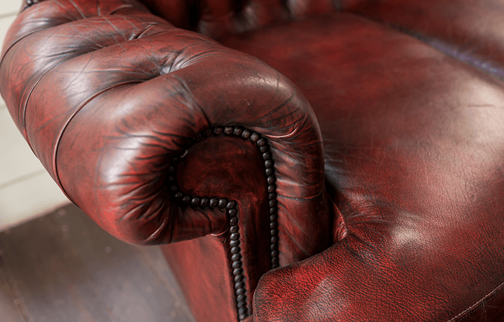 Close up picture of leather couch