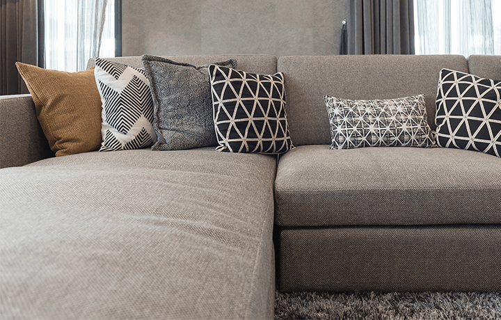 Clean gray microfiber couch