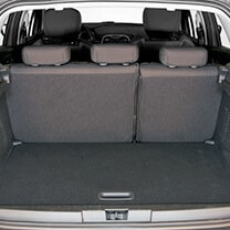 Interior of an open SUV trunk.