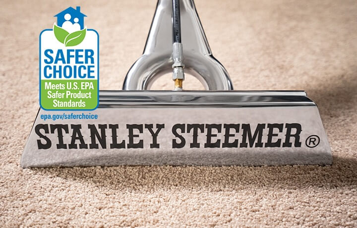 Stanley Steemer carpet cleaning wand on clean carpet. Stanley Steemer has been recognized for safe carpet cleaning by the EPA. Click here to learn more.
