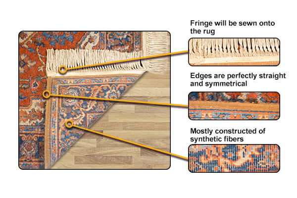 Machine made rug identifiers include: fringe will be sewn onto the rug; edges are perfectly straight and symmetrical; and its mostly constructed of synthetic fibers