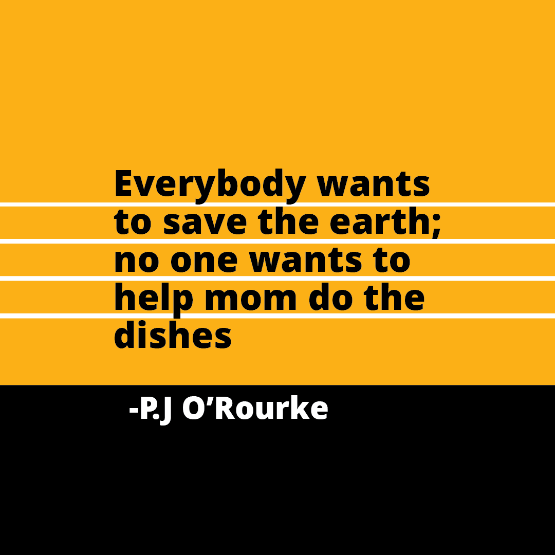 Quote: Everybody wants to save the earth; no one wants to help mom do the dishes