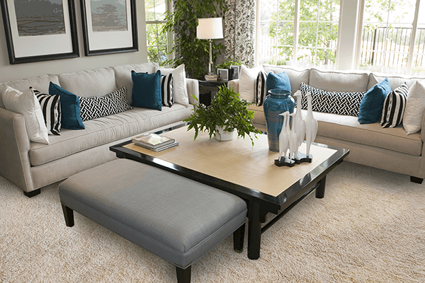 Natural light coming in through windows to show a carpeted living room with two couches and a coffee table