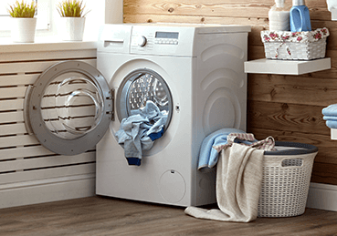 Clothes dryer with load of laundry