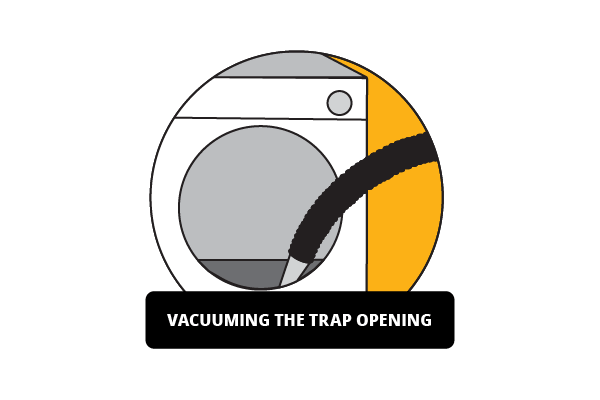 Illustration of vacuuming trap opening