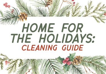 """Evergreen leaves with text that reads: """"Home for the Holidays: Cleaning Guide"""""""
