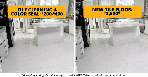 Comparing the cheaper cost of tile cleaning and color seal versus the costly expense of buying new tile floor