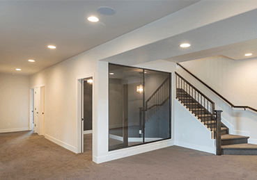 Basement of home with clear wall