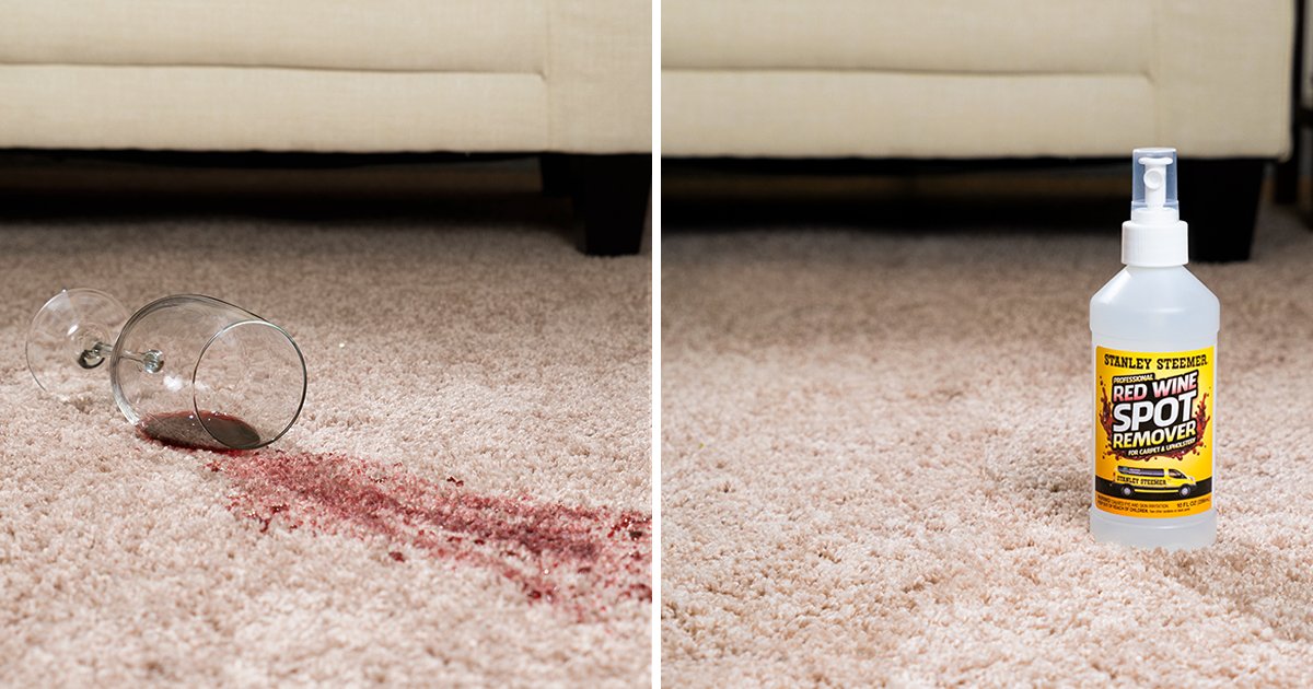 Before and after of clean carpet after using Red Wine Remover