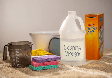 Bottle of cleaning vinegar, box of baking soda, measuring cup, sponges, gloves, and bowl on top of carpet