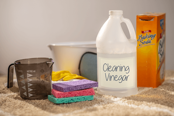Bottle of cleaning vinegar, box of baking soda, dish sponges, measuring cup, gloves, and bowl on carpet